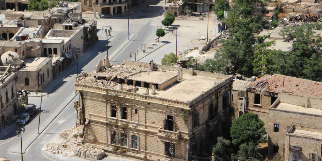 Aleppo, Syria. Buildings with damage and rubble.